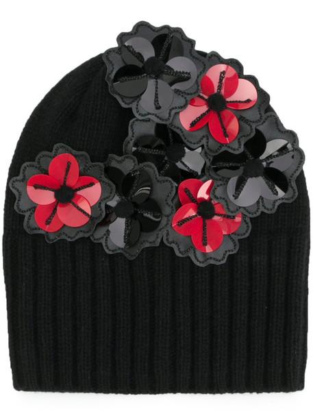 Le Chapeau women beanie cotton black wool hat