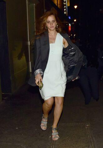 dress emma watson summer dress white dress sandals jacket