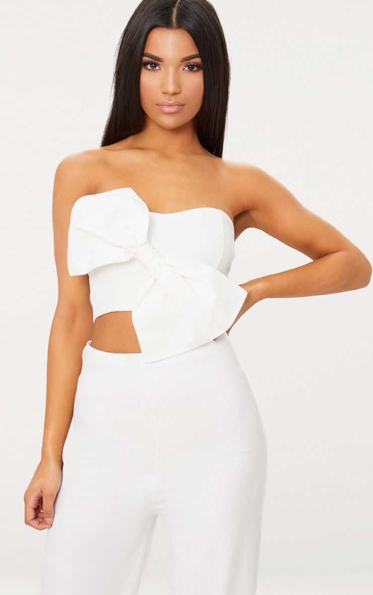 White Bow Front Bandeau Crop Top