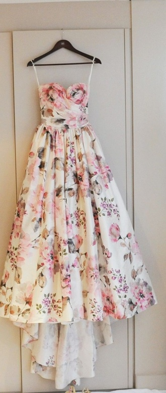 dress prom dress a line floral white pink gray strapless