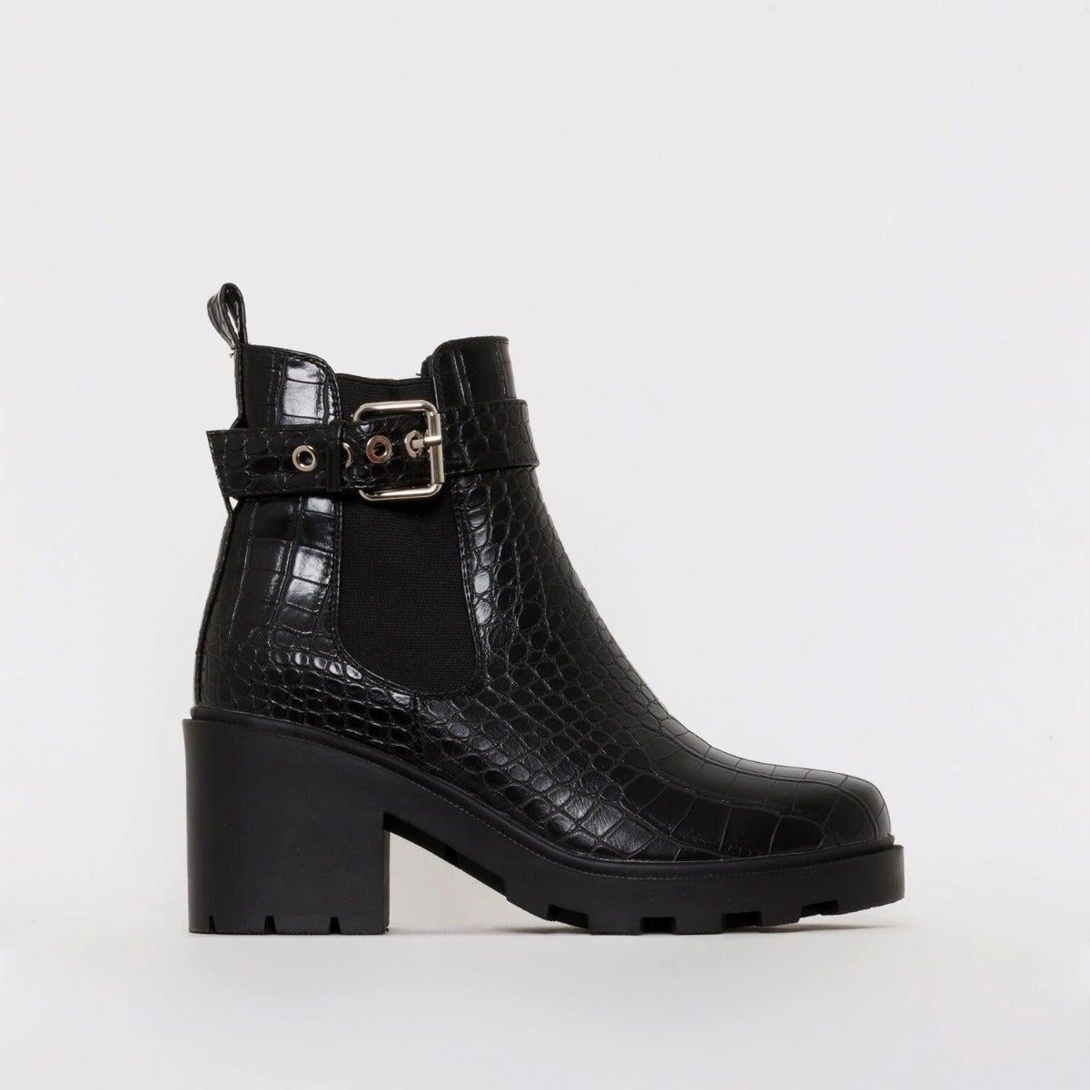 Tori Black Croc Print Chelsea Ankle Boots