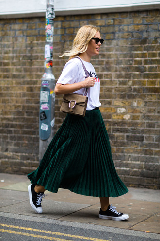 skirt fashion week street style fashion week 2016 fashion week maxi skirt green skirt pleated skirt t-shirt white t-shirt sneakers low top sneakers black sneakers converse black converse bag gucci dionysus sunglasses black sunglasses streetstyle logo tee