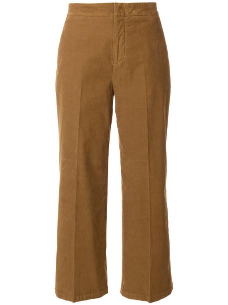 PT01 cropped women spandex cotton brown pants