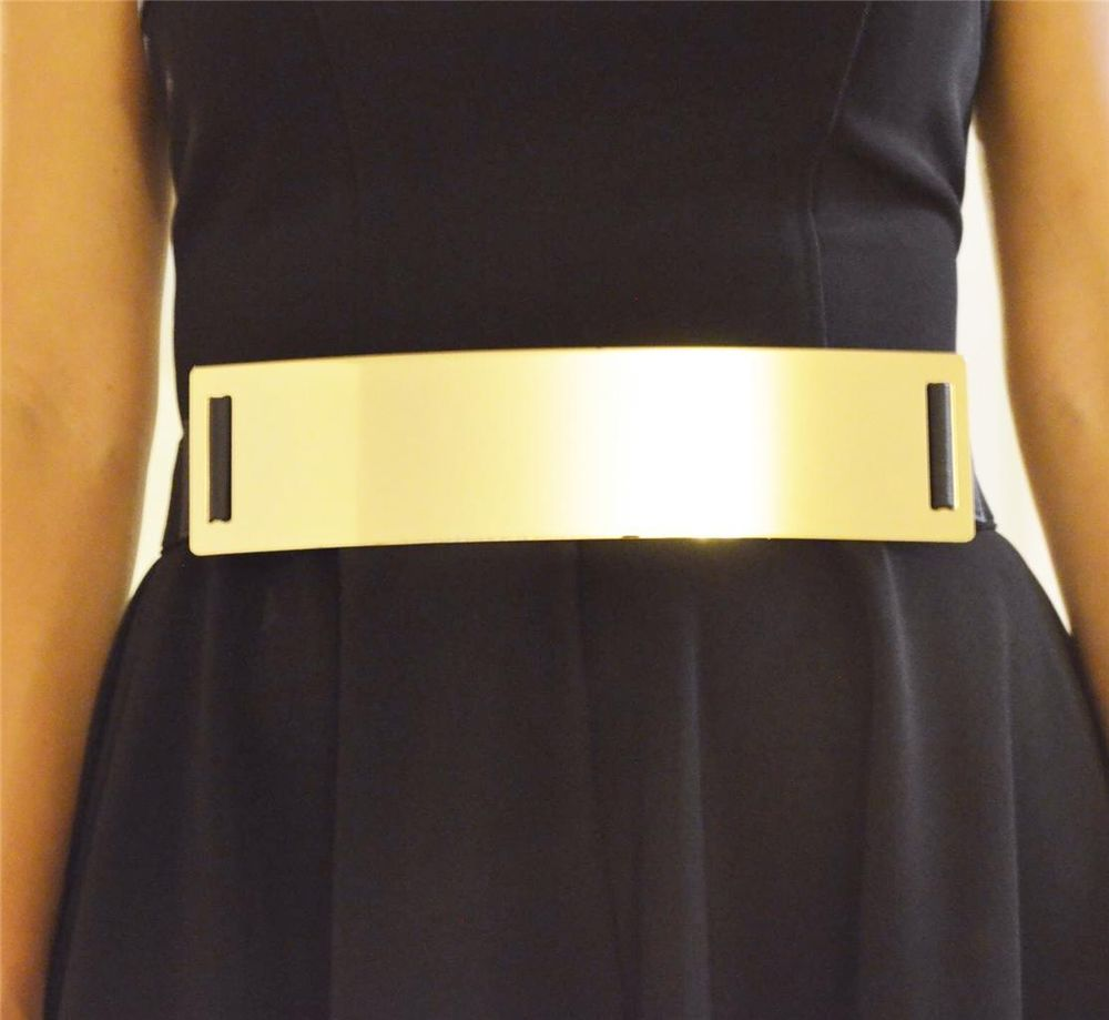 "New Womens XL Plus Size Elastic Gold Metal Plate 2 5"" Wide Stretch Belt Black 