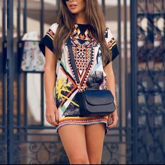 dress aztec t-shirt dress black pattern orange