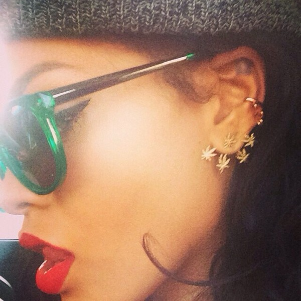 jewels weed earrings earrings rihanna gold weed studs weed ear jewelry piercing earclips earstuds stud ear piercings fashion sunglasses rihanna earrings