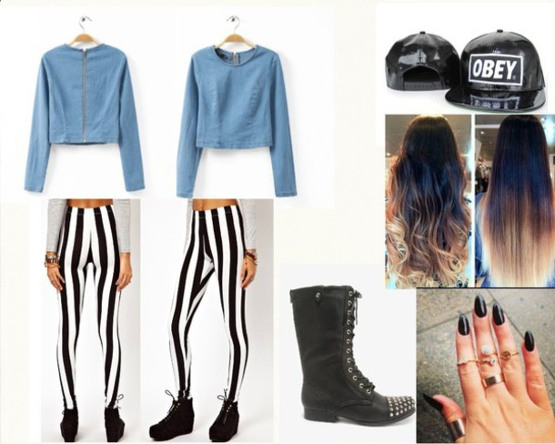 leggings leather hat denim shirt combat boots striped leggings obey