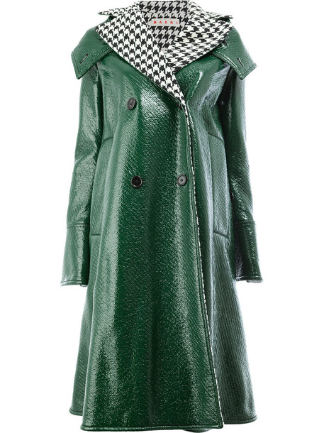 MARNI coat women wool green houndstooth