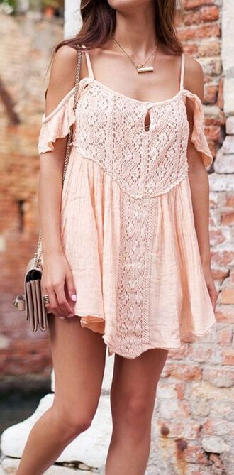 dress pink dress lace dress lacy flowy dress casual indie boho