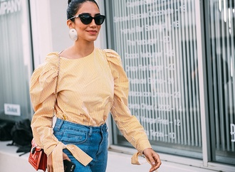 blouse caroline constas summer top gingham matchesfashion off the shoulder off the shoulder top summer summer outfits blogger streetstyle sunglasses viva luxury