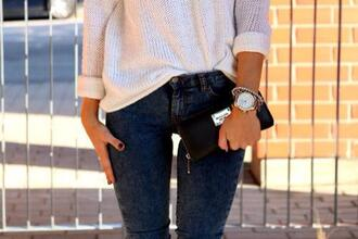 sweater white white pullover pullover white sweather strick jeans jewels pants