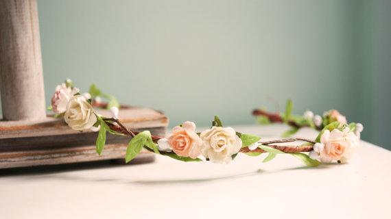 blush rose bridal floral crown pink flower door afaearrangement