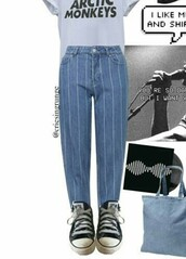 pants,blue,grunge,stripes,rock,punk,boyfriend,korean fashion,japan,tumblr