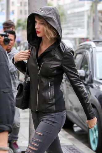 jacket black leather jacket fashion black jacket hooded jacket black leather jacket black bag red lipstick taylor swift celebrity style celebrity