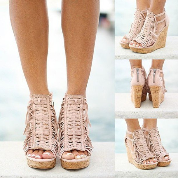 shoes wedges nude wedges fringe wedges savedbythedress - Shoes: Wedges, Nude Wedges, Fringe Wedges, Savedbythedress