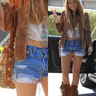 boho miley cyrus bohemian shorts bag jacket