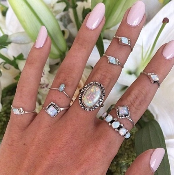 jewels ring opal opal rings silver style silver knuckle ring nails