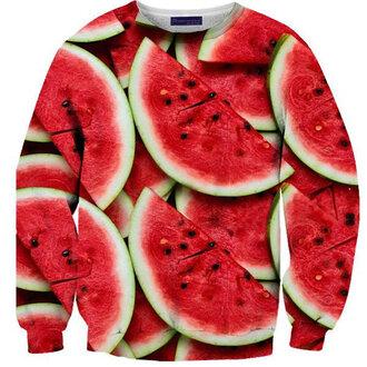 sweater food yummy watermelon print printed sweater