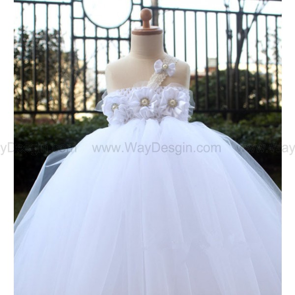 White Flower Girl Dress Girls Tutu dress toddler birthday dress Baby wedding tutu dress