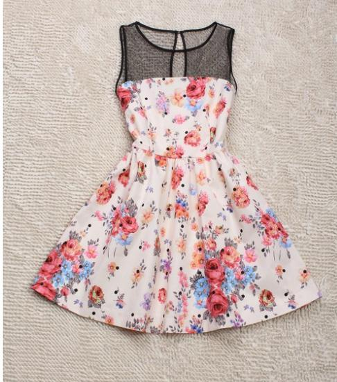 Fashion lace floral dress / wantde