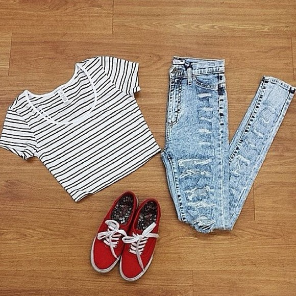shoes red shoes jeans stripes shirt