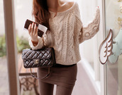 sweater,skirt,bag,winter outfits,beautifull,shirt,chanel,pullover,chanel bag,light brown sweater,brown jeans,top,jumper,cold,winter sweater,tan color,style,fashion