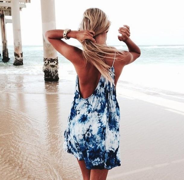 Dress Beach Beachy Tie Dye Blue Shirt Blue Dress Summer Summer Dress Beach Dress Model ...
