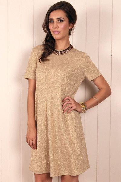 Solid gold shift dress