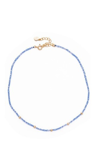 beaded necklace choker necklace denim gold jewels