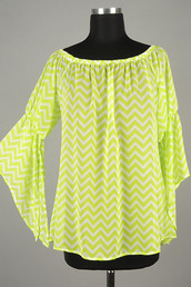 top,betsy boo's boutique,chiffon,lime,chevron,bell sleeves