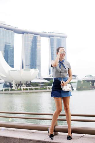 style scrapbook blogger skirt bag top sunglasses shoes