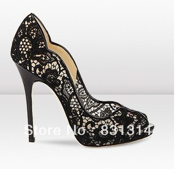 giuseppe new 2013 Black wave lace jc women's shoes high heeled shoes women pumps shoes woman 2013-inPumps from Shoes on Aliexpress.com