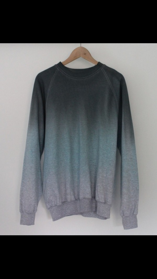 sweater black grey ombre sweatshirt free vibrationz able usa blue