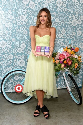 dress strapless yellow dress yellow jessica alba sandals bustier dress