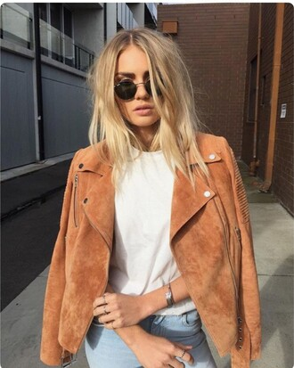 jeans outfit top denim jacket coat hair blonde hair yellow shoes yellow coat fall coat jewels sunglasses glasses orange