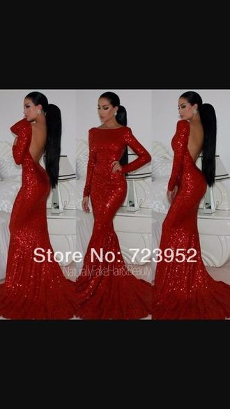 dress sequin dress red dress long prom dress
