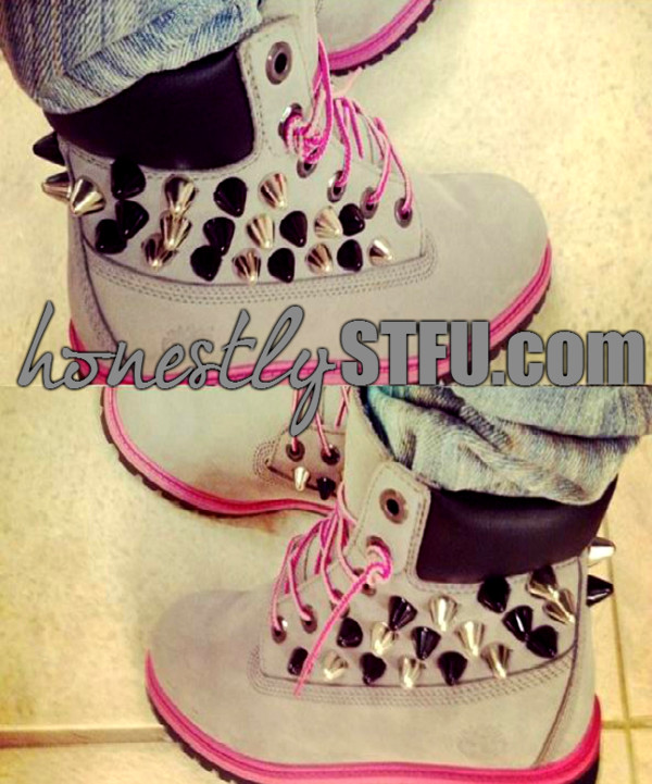 shoes grey grey timberlands pink spike stud black new hot sexy