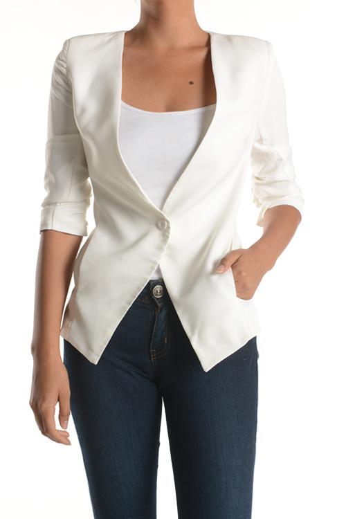 3/4 sleeve one button pocket jacket
