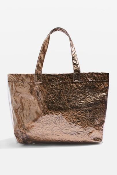 Topshop metallic bag bronze
