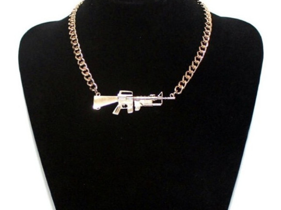 jewels gun necklace bling accessory