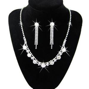 Diamond Shine Bridal Jewellery Crystal Set Drop Earrings & Necklace Choker S220 | Amazing Shoes UK
