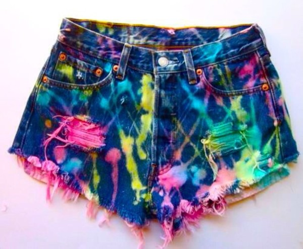 shorts coloful cool denim splatter paint ripped shorts splatter shorts painting denim shorts ripped shorts painted casual denim shorts neon splash ink dark denim shorts tie dye color/pattern fashion jeans clothes