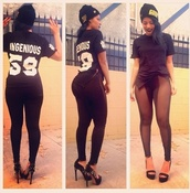 pants,t-shirt,black leggings,black mesh leggings