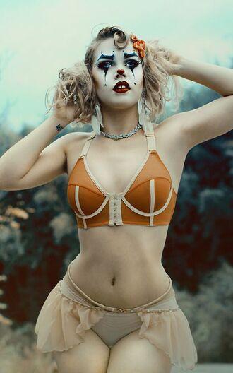 top bra orange white cream beige nude clown tutu panties underwear bralette