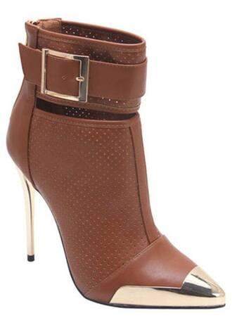 shoes beige brown marron gold boot heels buckle
