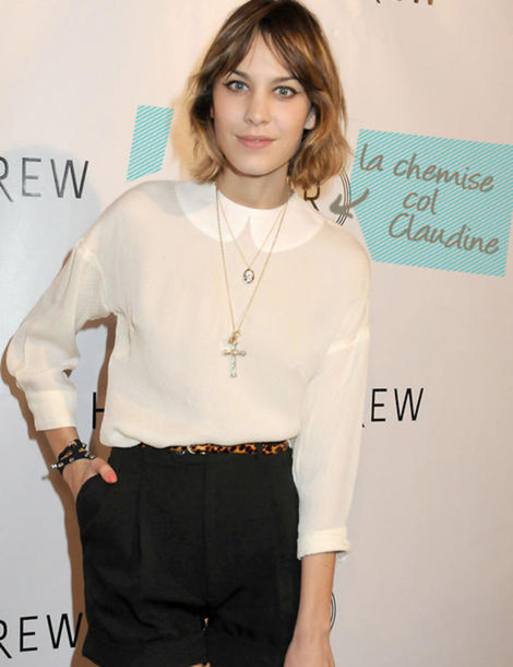alexa chung peter pan collar brown blouse white blouse