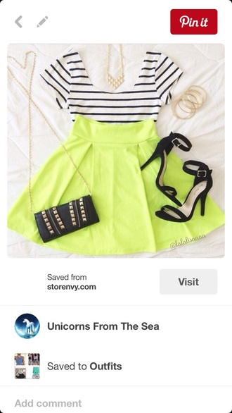skirt skater skirt crop tops top shirt stripes striped top white crop tops neon short skirt