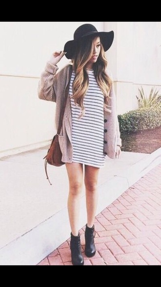 dress black and white hat felt hat cardigan purse bag brown black dress style stripes style me beautiful cute cute dress outfit tumblr outfit outfit idea