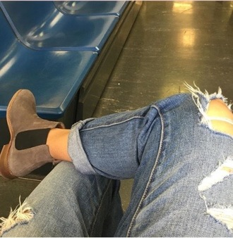 shoes boots tan nude beige ankleboots black jeans rip
