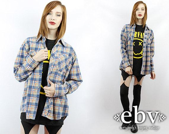 Vintage 90s Plaid Flannel Shirt 90s Grunge Shirt Plaid by shopEBV